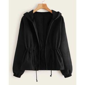 cinch waist zip up hooded jacket black